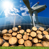 Renewable Energies Sources - Wind Solar Biomass. Renewable energies sources - Wind energy with a wind turbine, solar energy with a solar panels, biomass with a stock photo