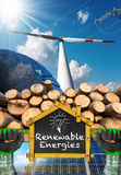 Renewable Energies Sources - Wind Solar Biomass. Renewable energies sources - Wind energy with a wind turbine, solar energy with a solar panels, biomass with a stock photography