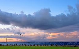 Renewable energies at sunset II. Renewable energies at sunset on Villa Valiente royalty free stock image