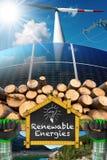 Renewable Energies - Wind Solar Biomass Hydropower. Renewable energies sources - Wind energy wind turbine, solar energy solar panels, biomass tree trunks and stock photos