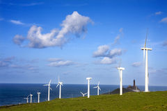 Renewable energy. Wind turbine, ecology and renewable energy Stock Photo