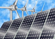 Renewable energy. Illustration of renewable energy producers, wind turbine and solar panels royalty free stock photo