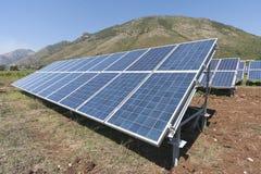 Renewable energy. With solar panels stock photos