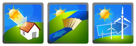 Renewable energy. Three illustrations/icons with clean energy: sun, water, wind Stock Photos