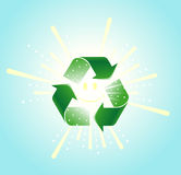 Renewable Energy. Sun encased in a recycle symbol Royalty Free Stock Photography