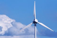 Renewable energy. Close up of an offshore wind turbine Royalty Free Stock Image