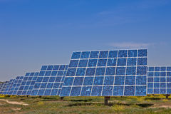 Renewable Energy. Solar panels in the power plant for renewable energy Royalty Free Stock Images