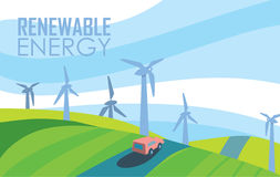 Renewable energy banner. Wind power generation. Renewable energy vector illustration. Car on road in windfarm landscape. Wind turbines in green field on vector illustration