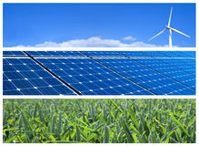 Renewable Energy Banners. Wind turbine, solar panels and wheat field. Renewable energy banners royalty free stock photography
