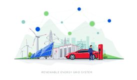 Renewable Energy Battery Storage Grid System with Electric Car Charging. Flat vector illustration of renewable energy blockchain connected system. Electric car vector illustration