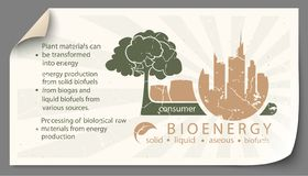 Renewable energy from bioenergy paper infographics. Renewable energy from bioenergy paper templates infographics stock illustration