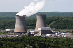 Renewable Energy Climate Change Steam Power. Located on a hilltop, this nuclear power station (steam electric) in Pennsylvania is a 2500-megawatt facility with Stock Image