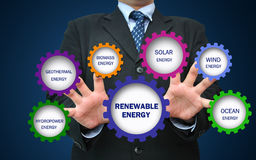 Renewable Energy Concept. Business man work on gear icon for renewable energy concept Stock Photo