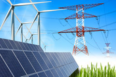 Renewable energy concept with grid connections solar panels and wind turbines Stock Photography
