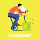 Renewable energy concept. Man with generator Stock Images