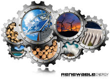 Renewable Energy Concept - Metal Gears. Renewable Energy Concept - 3D illustration of a group of gears with the sustainable energies. Wind, solar, biomass vector illustration