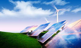 Renewable energy concept. Photovoltaic with wind turbines in fresh nature vector illustration