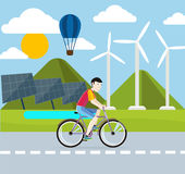Renewable energy concept. Solar and wind energy Stock Photography
