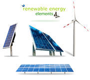 Renewable energy elements. Isolated renewable energy elements for your prints Royalty Free Stock Photos