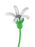 Renewable energy - flower lamp. Flower lamp with solar panel Stock Image