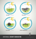 Renewable Energy Generation icons and symbols Stock Images
