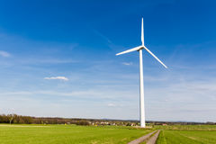Renewable energy generation with wind turbine stock images
