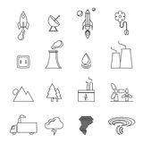 Renewable energy, green, eco, creative design line icons set Stock Image
