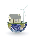 Renewable energy. Half of an earth globe with a house and an eolic plant; concept of renewable; earth map courtesy of nasa.gov (3d render Royalty Free Stock Photo