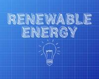 Renewable Energy Hand Drawn Blueprint stock illustration
