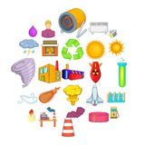 Renewable energy icons set, cartoon style. Renewable energy icons set. Cartoon set of 25 renewable energy vector icons for web isolated on white background Royalty Free Illustration