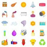 Renewable energy icons set, cartoon style. Renewable energy icons set. Cartoon set of 25 renewable energy vector icons for web isolated on white background royalty free illustration
