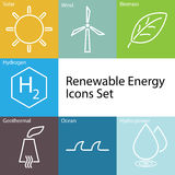 Renewable Energy icons set Royalty Free Stock Photography