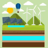 Renewable energy like hydro, solar and wind power. Renewable energy like hydro, solar, geothermal and wind power generation facilities cartoon style Royalty Free Stock Image