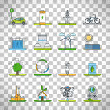 Renewable energy outline icons Stock Photos