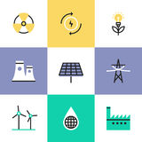 Renewable energy production pictogram icons set. Flat line icons of global production of renewable energy, green power saving efficiency, solar panel and atomic Royalty Free Stock Image