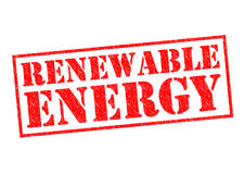 RENEWABLE ENERGY. Red Rubber Stamp over a white background Stock Image
