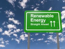 Renewable energy sign. Green renewable energy straight ahead sign with arrows. Blue sky and cloud background stock photo