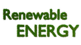 Renewable energy sign on grass Stock Image