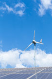 Renewable energy. Solaecell and windturbine Stock Images
