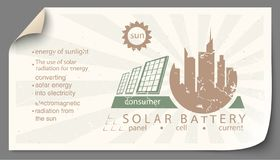 Renewable energy from solar battery templates infographics. Renewable energy from solar battery paper templates infographics vector illustration
