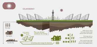 Renewable energy from solar energy. Illustrated infographics vector illustration