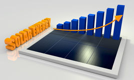 Renewable energy, solar panel with chart Stock Photography