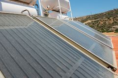 Renewable energy. Solar panel system for hot water. Renewable energy for house. Solar panel system for hot water stock photos