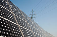 Renewable energy: solar panels. Of a highway Italian. A solar panel (photovoltaic module or photovoltaic panel) is a packaged interconnected assembly of solar Stock Photography