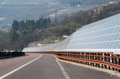Renewable energy: solar panels. Of a highway Italian. A solar panel (photovoltaic module or photovoltaic panel) is a packaged interconnected assembly of solar Stock Images