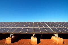 Renewable energy Solar panels against blue sky Royalty Free Stock Photos