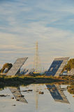 Renewable Energy Solar Panels and Power Tower Stock Photography