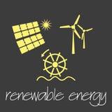 Renewable energy source symbols simple banner eps10 Royalty Free Stock Photos