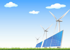 Renewable energy sources. Illustration of panels with solar cells and wind generators on a green field with blue sky Stock Illustration