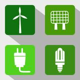 Renewable Energy Sources Icons - Windmill, Solar Panel, Electricity and Modern Light Bulb Royalty Free Stock Photos